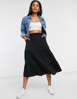Monki Sunny washed satin tiered midi skirt in black