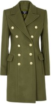 Balmain Army green double-breasted wool-blend coat