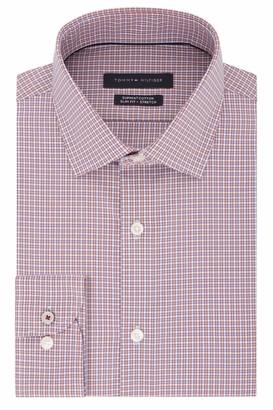 Tommy Hilfiger Men's Dress Shirt Stretch Slim Fit Checks