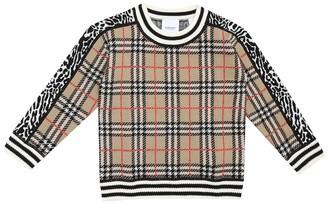 BURBERRY KIDS Checked merino wool sweater