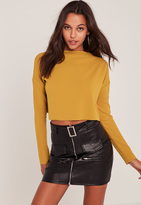 Missguided Yellow Crepe Wide Neck Crop Top