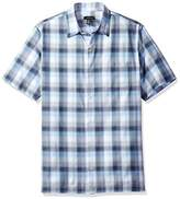 Van Heusen Men's Textured Cotton Rayon Short Sleeve Shirt