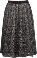Marc Jacobs Metallic floral-brocade pleated skirt