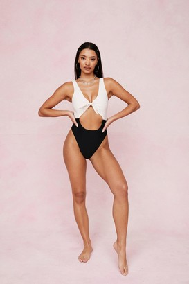 Nasty Gal Womens Two Tone V Neck Cut Out Swimsuit - Black