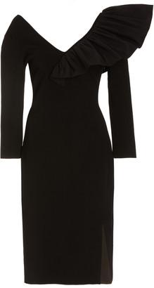 Givenchy Women's Taffeta-Trimmed Crepe Midi Dress - Black - Moda Operandi