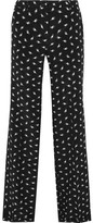 Miu Miu Printed Silk Crepe De Chine Wide-leg Pants - Black