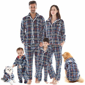 Inflation Christmas Family Matching Plaid Pajama Sets Flannel Sleepwear Long Sleeve Tops Pants Nightwear for Mom Womens XXL