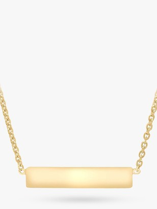 IBB Personalised 9ct Gold Horizontal Bar Initial Pendant Necklace