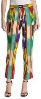 Etro Ikat-Print Ankle Pants, Pink/Multi