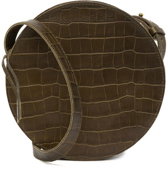 Madewell Simple Circle Croc Embossed Leather Crossbody Bag