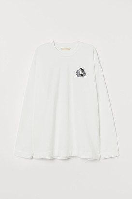 H&M Oversized Jersey Top - White