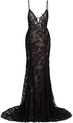Monique Lhuillier Lace Slip Sheath Gown
