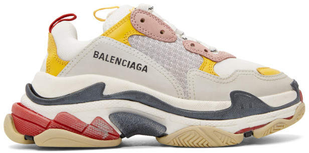 Balenciaga Yellow and Grey Triple S Sneakers