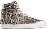 Loeffler Randall Delaney fringed snake-print suede high-top sneakers
