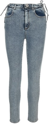 Alessandra Rich Lace-Up Skinny Denim Jeans