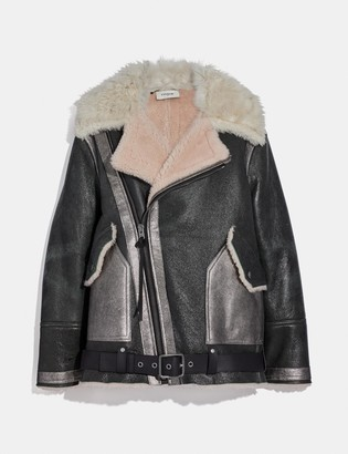 Coach Oversized Shearling Aviator Jacket