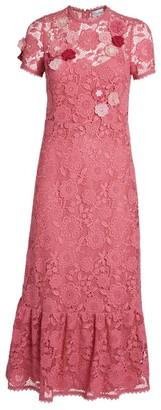 RED Valentino Floral Crochet Midi Dress