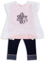 Little Lass Girls 2-6x Floral Overlay Top & Pants Set