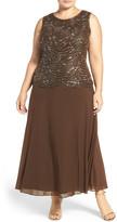 Pisarro Nights Mock Two-Piece Sleeveless Gown (Plus Size)