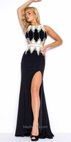 Mac Duggal Gold Embroidered Side Cutout Prom Dress
