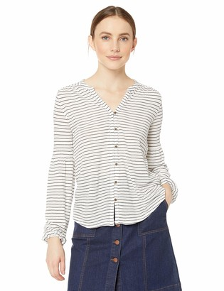 Lucky Brand Women's Button Front Puff Sleeve Peasant TOP in White Multi