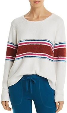 PJ Salvage Peachy Striped Fuzzy Pullover Top