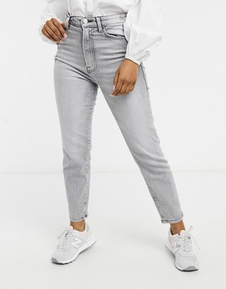 Stradivarius organic cotton slim mom jeans with stretch in grey