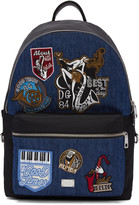 Dolce & Gabbana Black and Blue Denim Patches Backpack