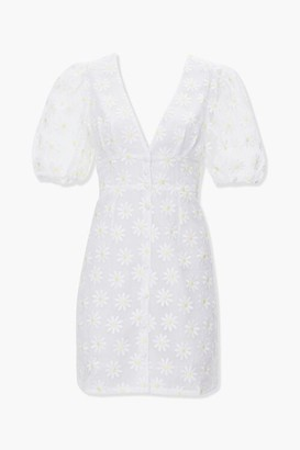 Forever 21 Daisy Puff-Sleeve Mini Dress