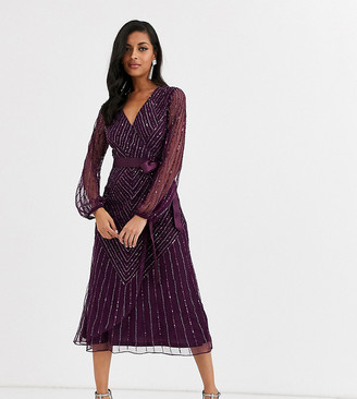 Amelia Rose embellished bridesmaid midi dress with wrap detail in wine-Red