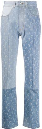 Marine Serre Moon-Print Panelled Jeans