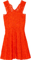 Sandro Riviera embroidered lace and crepe mini dress
