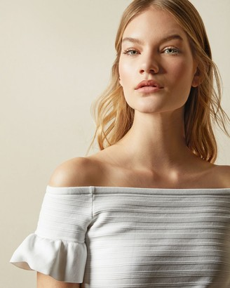 Ted Baker Bardot Frill Detail Knitted Top