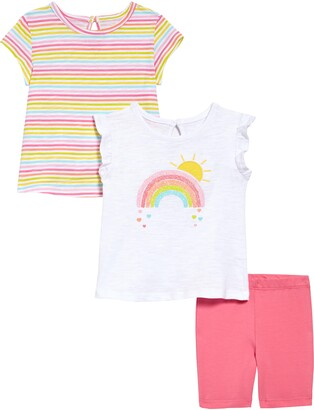 Little Me Rainbow T-Shirts & Shorts Set