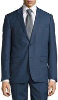 Neiman Marcus Modern-Fit Sharkskin Two-Piece Wool Suit, Blue
