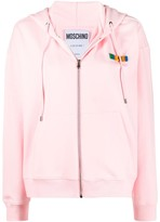 Moschino logo-lettering zip-up hoodie
