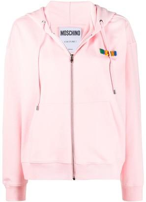 Moschino Logo-Plaque Zip-Up Hoodie