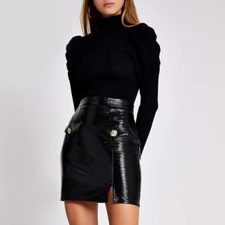 River Island Womens Black patent faux leather mini skirt