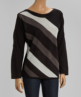 Black & Gray Diagonal Stripe Scoop Neck Sweater