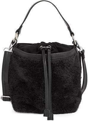 Design Lab Mini Faux Shearling Bucket Bag