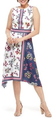 Maggy London Floral Scarf Print Midi Dress