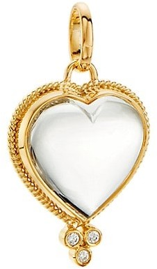 Temple St. Clair 18K Yellow Gold, Diamond & Rock Crystal Braided Heart Small Pendant