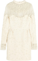 Valentino Beaded tulle and wool-blend crepe mini dress
