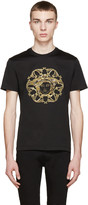 Versace Black and Gold Embroidered Medusa T-shirt