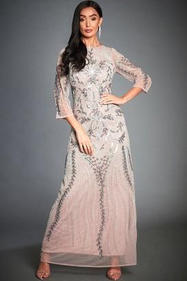 Jywal London Tessy Lilac Embellished Maxi Dress