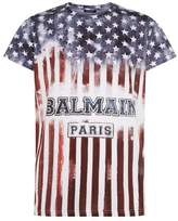 Balmain Cotton Flag Printed T-shirt