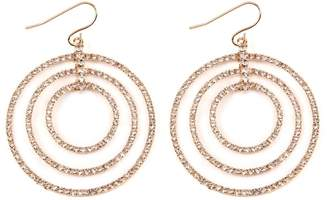 Riah Fashion Tri-Hoop-Pave Hook Earrings