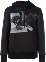 Neil Barrett winged horse print hoodie - men - Polyester/Polyurethane/Viscose - XL
