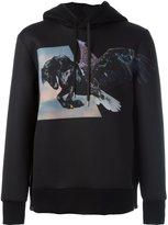Neil Barrett winged horse print hoodie