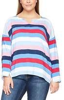 Ulla Popken Women's Gestreifte Tunika MIT Knopfleiste Im Rückenteil Longsleeve T-Shirt,UK 32